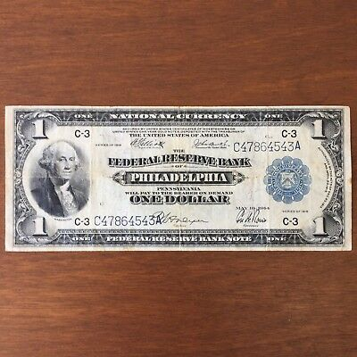 1918 U.S. One Dollar National Currency Blue Seal Federal Reserve Bank Note C-3