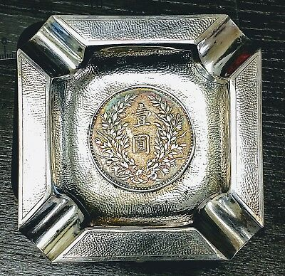 Art Deco Hand Hammered 925 Sterling Silver 1914 Chinese Fat Man Coin Ashtray NR