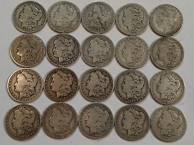 (ROLL of 20) pre-1921 Morgan silver dollar coins. G-VG, mixed dates.