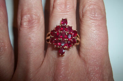 10k Yellow Gold Genuine Ruby Cluster Cocktail ring Vintage Unique size 7