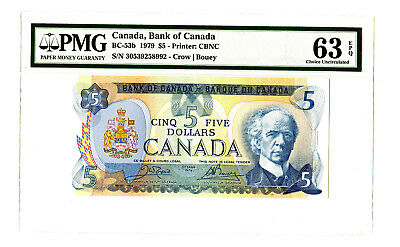 1979 $5 BANK OF CANADA PMG 63 EPQ BC-53b BANKNOTE CROW BOUEY S/N 30539258992