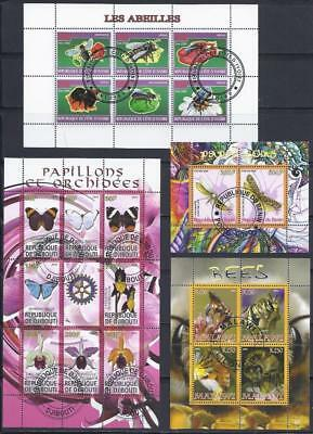 FS9207 4 Diff. Souvenir Sheet Special 0f 20 Insects Butterflies & Bees