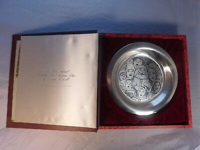 1972 Franklin Mint Sterling Silver Norman Rockwell Plate The Carolers' Christmas
