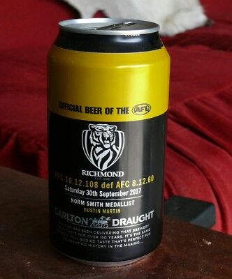 2x Richmond Tigers 2017 Premiership Carlton Draught Beer Can empty