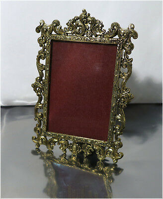 Vintage Ornate Standing Miniature Picture Frame, Gold Toned Brass, Made in ITALY