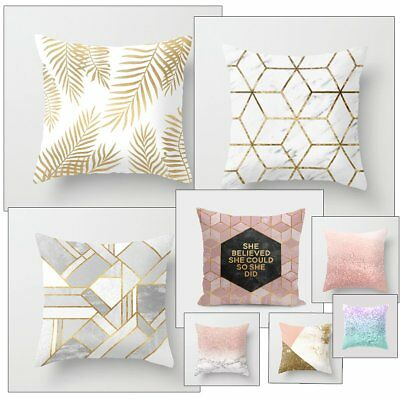 Gold Shining Geometry Pillow Case Bed Sofa Waist Throw Decorative Cushion Cover
