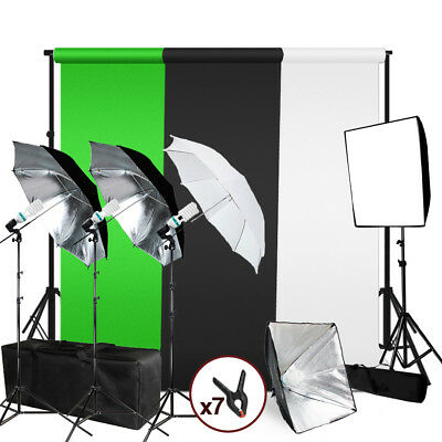 Photography Photo Studio Lighting Kit Umbrella Softbox Muslin Backdrop Stand Set