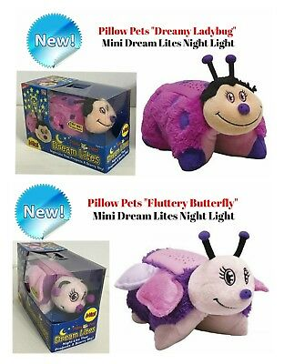 Pillow Pets Dream Lites Mini Fluttery Butterfly, Dreamy Ladybug Night light NEW