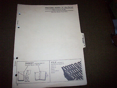 John Deere Model D Unstyled Tractor Parts Catalog Manual 1980's Reprint PC-658
