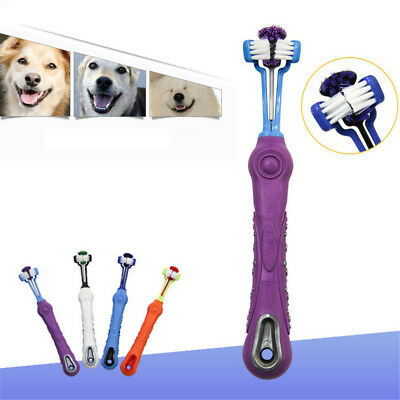 New Three Sided Pet Cleaning Brush Dog ToothBrush Teeth Care Dog Cat Cleaning U