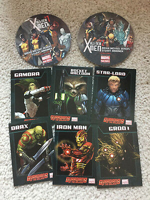 Marvel 6 Guardians Of The Galaxy Trading Cards & 2 X-Men Paper Coasters