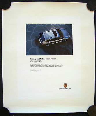 Porsche Official Cayenne S Cold Shower Showroom Advert Poster 2005 Small Usa.