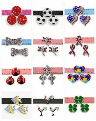 5pcs 10mm Slider Charm Letter Symbols For DIY Jewelry Pet Collar wristband Lot