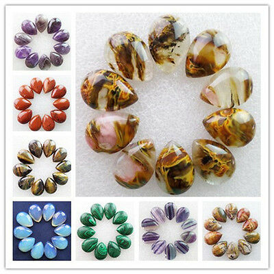 25x18mm Mixed Gemstone Teardrop CAB CABOCHON Pick 10pcs Or 20pcs XJ-401