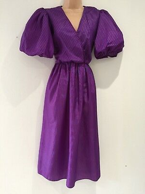 Vintage 80s Lord & Taylor Pink & Purple Stripe Puffed Sleeve Prom Style Dress 10