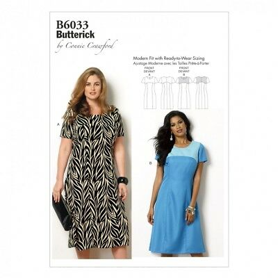 Butterick Ladies Plus Size Easy Sewing Pattern 6033 Fitted Dresses