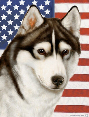 Garden Indoor/Outdoor Patriotic II Flag - Black & White Siberian Husky 320381