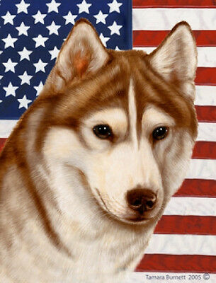 Garden Indoor/Outdoor Patriotic II Flag - Red & White Siberian Husky 322301