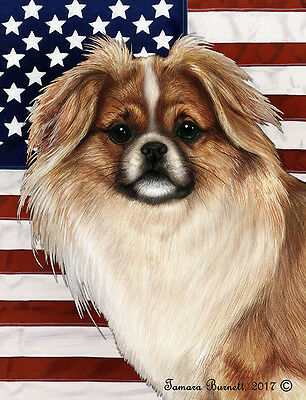 Garden Indoor/Outdoor Patriotic II Flag - Parti Tibetan Spaniel 324761
