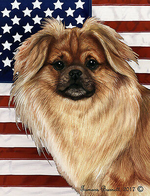 Garden Indoor/Outdoor Patriotic II Flag - Sable Tibetan Spaniel 324771