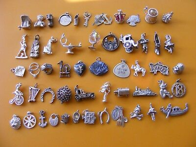 V Vintage Sterling Silver Charm Charms Pram Crown Lamp Globe Shoe Well Harp Lion
