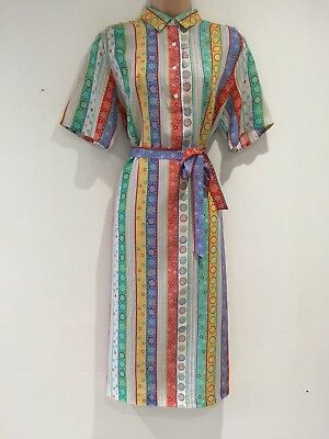 Vintage 80's White Green Yellow Blue Red Stripe Circle Print Belted Dress 14-16
