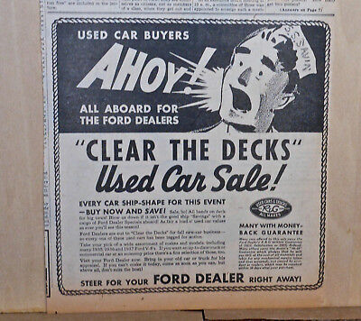 1938 newspaper ad for Ford - Ahoy! Sailor announces Ford Used Car Sale