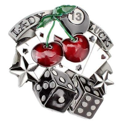 b6dbc4d25 LADY LUCK VEGAS Poker Cards Dice Cherry Gamble Western Belt Buckle ...