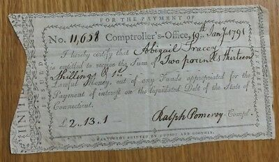 1791 Connecticut 2 Pounds & 13 Shillings Treasury Office Note Xf? Free Shipping