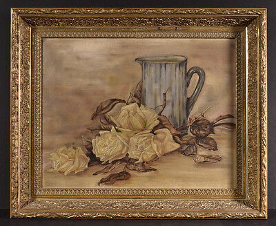 Mid to Late 19th C Still Life Roses Water Pitcher, Original Ornate Gold Frame