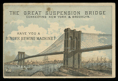 1883 Brooklyn Bridge & Singer Sewing Machine Trade Card, Chicago Fire Reference