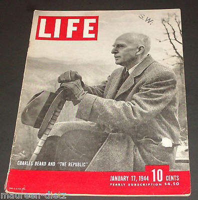 January 17, 1944 LIFE Magazine CHARLES Beard 40s advertising FREE SHIPPING Jan 1