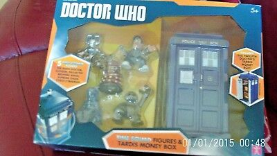 DOCTOR WHO Time Squad Figures & Tardis Money Box NEW AND SEALED