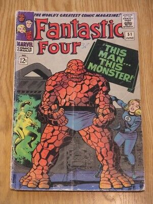Fantastic Four Vol 1 #51 12c Jun 1966 Marvel Stan Lee Jack Kirby The Thing