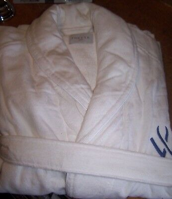 NEW White XL FRETTE 100% Cotton Turkish Terry Shawl Collar Robe Blue W Logo