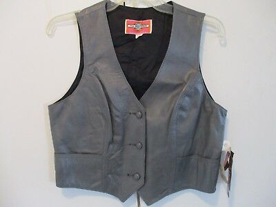 Women's Vintage Ms. Pioneer Wear Pewter Gray Leather Vest NWT Size 14