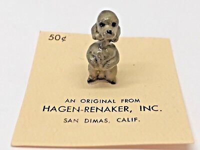 VTG HAGEN RENAKER Miniature Bone china Figurine POODLE DOG porcelain dollhouse