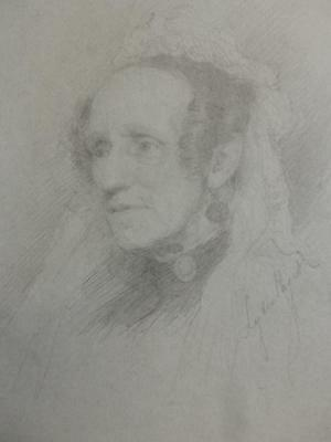 really old drawing VICTORIAN PORTRAIT signed 1892