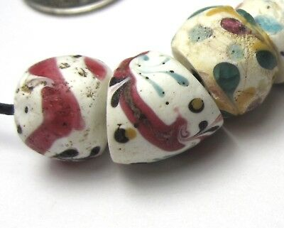 4 Rare Gorgeous Old White Fancy Venetian Floral Antique Beads