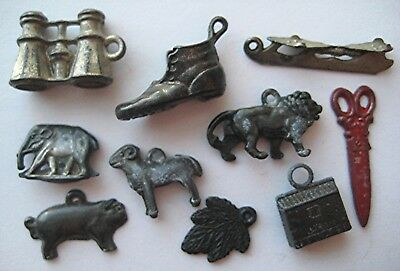VINTAGE 1920's-30's Antique Cracker Jack OLD METAL CHARM Toy Prize LOT #5
