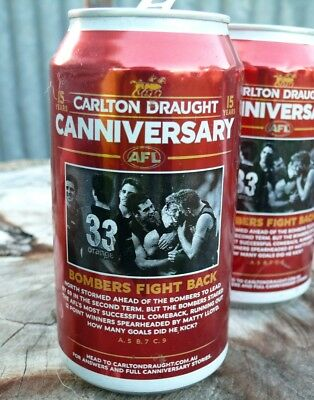 AFL Bombers fight back collector Canniversary Carlton Draught Beer Can - empty