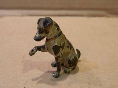 Small Brass or Bronze Dog Figurine Painted Red Collar 1 Paw Lifted Vintage