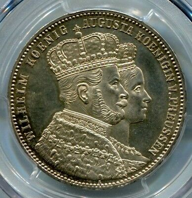 Germany Prussia  KM# 488	1 Thaler. Coronation	1861A	MS64 PCGS [C40]