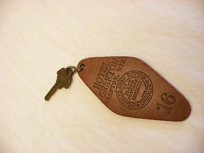 Antique Vintage Room Key & Leather Tag Hotel Grafton - Grafton Wisconsin WI