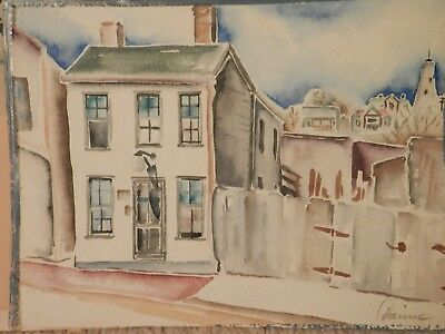 OLD antique fine art Watercolor PAINTING original vintage artwork artist signed