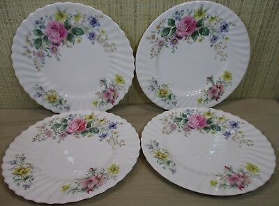 "4X Royal Doulton ""Arcadia"" Set 4 Dinner Plates Variety Flowers Scalloped Border"