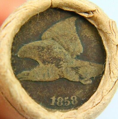1858 Flying Eagle & Lincoln Wheat Penny on Ends of a Wheat Cent Roll 9612