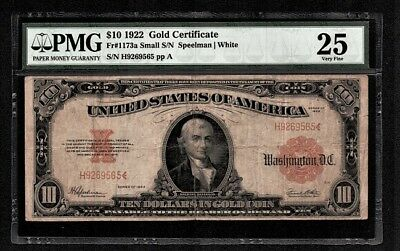 "Fr. 1173a $10 1922 Gold Certificate ""Small Serial Numbers"" PMG Very Fine 25"