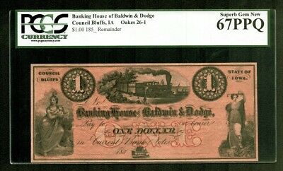 $1 185- Banking House Baldwin & Dodge Council Bluffs IOWA PCGS Superb Gem 67PPQ