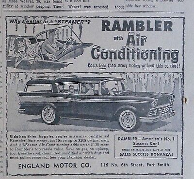 1959 newspaper ad for Rambler - Why swelter in a Steamer? air conditioned wagon